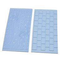Wholesale 2pcs Cake Fondant Wall Brick Wood Grain Mold Embosser Cutter DIY Mould Baking Cake Decorating Tool Cooking