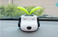 Wholesale 2PC Cute Car Styling Solar Dog Doll Shaking Head with Sunflower Car Accessories Interior Ornament