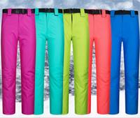 Wholesale XS XL Skiing pants female Men winter lovers outdoor skiing pants windproof waterproof thermal thickening suspenders trousers