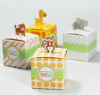 bamboo paper pulp - 2016 animals Baby Shower candy favors box birthday Party decorations kids paper box souvenirs baby shower favor box