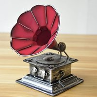 antiques phonographs - Retro Iron Phonograph Antique Model Nostalgia Handmade Jukebox Desktop Home Decoration Photo Props