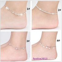 Wholesale Sexy star ankle bracelets beach jewelry new Sterling silver Double layers anklets jewelry for Women Boot Foot Jewelry