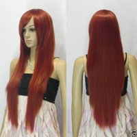 bang hair pictures - 100 Brand New High Quality Fashion Picture full lace wigs gt gt Long Straight Dark Orange Red Side Swept Bang Synthetic Hair Full Wig Cosplay