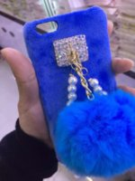 ball ideas - High Quality Cell Phone Case Cover for Iphone s Plus Mix Colors pce DHL Free Iphone Case With Rabbit Fur Ball Gift Ideas