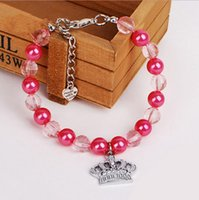 basic jewelry design - Luxury Princess Crystal Necklace Crown Design Dog Pet Collars Pink Blue Pearl Small Animals Jewelry Accessories GP160112