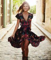 al por mayor hippie retro-Robe retro del vestido del Hippie de Bohemain del vestido de la playa de la borla del vestido del vestido de Boho de la impresión atractiva étnica atractiva del vestido Vestidos Mujer