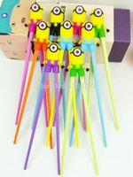 Wholesale 500pairs minions chopsticks despicable me baby learning chopsticks DHL Fedex RT314