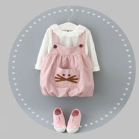 baby clothe cat - Hot Sale Baby Girls Cat Pocket Suspender Dress Outfits Autumn Children Boutique Clothing Years Little Girls Pieces Set
