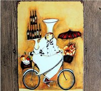 bicycle wall art - Holding a red wine bread to ride bicycle Creative posters cm decorative sheet metal painting decorative crafts and gifts Free Shippi