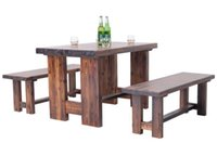 Wholesale Outdoor Furniture Wooden Carbon Brush Lacquer Table And Chair For Garden