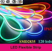 Wholesale Newly LED strip lights waterproof IP65 flexible LED strip SMD2835 leds both side glowing high bright colors neon light m