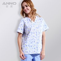 Wholesale 2016 new arrival printed nursing scrubs for Rain flower fabric with comfortable medical uniform in scrubs set