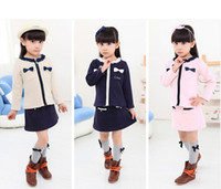 Wholesale Elegant Clothing sets pieces Coat Skirt Children Casual Spring Autumn Outfits Girls cotton Clothing with Lovely Bowknot