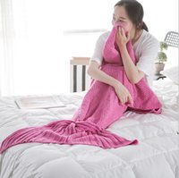 Wholesale 180 cm Adult Fashion Knitted Mermaid Tail Blanket Super Soft Warmer Blanket Bed Sleeping Costume Air condition Knit Blanket Colors