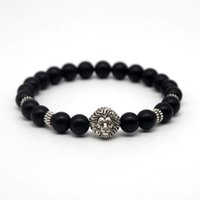 antique rosary beads - Tibetan Antique Silver Plated Lion Head Buddha Bracelet Yoga Rosary Black Matte Stone Beads Bracelets For Men Pulsera Hombre N