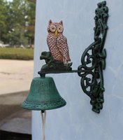 antique door bell - Welcome To The Listed Numbers Wrought Iron Bell Green Bells Owl Antique Retro Dinner Bell Home Garden Wall Door Decor Free Ship