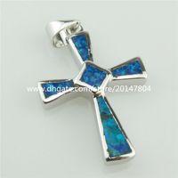 australian blue opals - 20322 Sterling Silver mm Faith Cross Sign Lucky Blue Australian Opal Pendant