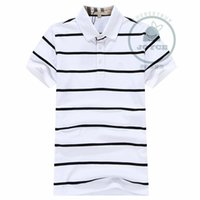 Wholesale Top Quality New Summer Men Polo Shirt Fashion Cotton Striped Cotton T shirt Polos Top Brand Logo Shirt S XXL
