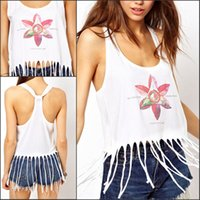 Wholesale Low Price Summer Fashion Women Tank Tops Floral Print Sleeveless T Shirt Sexy Low Cut Tassle Fringe Crop Top Vest Blouse XL WY6942