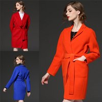 belted wool jacket - New Brand Winter Coats With Belt For Women V Neck Medium Long Jackets Wool Blends Blue Red Orange Womens Winter Coat