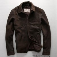 america sheep - Lapel neck Europe and America Vintage Cuba sheep skin leather men casual leather jacket