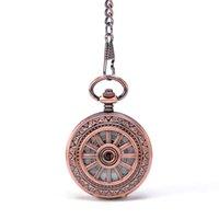 antique sailor - Fashion Pop Round Rose Gold Sailor Wheel Spraies Border Arabic Numbers Hand Wind Key Chain Mehchanical Pocket Watch