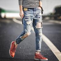 Wholesale Men Selvedge Zipper Destroyed Torn hole Pants capris Blue Denim Slim Fit frayed male streetwear true harem jeans for men