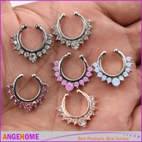 Wholesale Nose Ring Crystal Alloy Nose Hoop Rings Body Piercing Jewelry Fake Septum Clicker Non Piercing Hanger Clip On Women Body Jewellry
