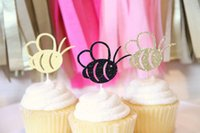 bees food supply - Glitter Bumble Bee cupcake toppers sweet wedding party Bridal Baby Shower Birthday party food picks