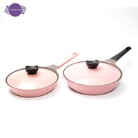 aluminum stock pots - South Korea ceramic frying pan thickening pink no soot flat non stick fry dribbling pot