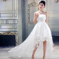 Wholesale Sexy Front Short Long Back Wedding Dress Real Photos Strapless Sweet Tulle Vestidos De Novia Boho Beach Bridal Gown