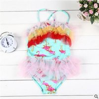 Wholesale Flamingo One Piece for Baby Girls Summer Girls One Piece Flamingo Swimwear Lace Gauze Tulle Girl Swimsuit Beach Wear Swimsuit