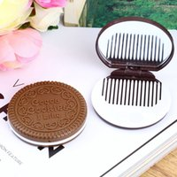 Wholesale 1 Portable Cute Chocolate Cookie Shape Cosmetic Mirror Makeup Chocolate Comb Lady Girl