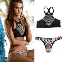 Establece Sexy Bikini 2016 más nuevo Impreso del bikini de baño mujeres de la vendimia para las mujeres Moda baño empuja hacia arriba el traje de baño bikini triángulo