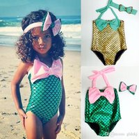 Cheap Hug Me New Korean Baby Girls One-Pieces Kids Girl Swimwear Baby Swimsuit Ruffle Bow Princess two Pieces Swim Cute Clothing BB-626