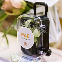 Wholesale Clear Mini Rolling Travel Suitcase Favor Box Wedding Favors Party Reception Candy Package Baby Shower Ideas
