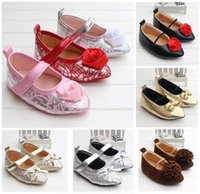 baby rubber bands - Flat pointed baby toddler shoes Neonatal PU Polka Dot bow hollow rose flowers princess elastic mouthpiece dance shoes Loafers