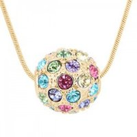 ball chain offers - Special offer South Korea best selling jewelry Austrian crystal colorful ball pendant necklace guard love B65