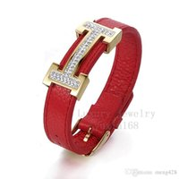 best gifts adjust - Belt buckle can adjust freely open leather bracelet For women with titanium steel diamond bracelet BEST GIFT NSB449