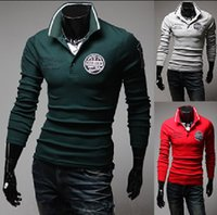 Wholesale new Casual Slim Men s polo shirts fashion Men s t shirts long sleeve R letters armband mens t shirts green
