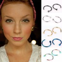 Wholesale 5 Colors Nose Hoop Nose Rings Stainless Steel Body Piercing Jewelry Body Jewelry Drop Shipping