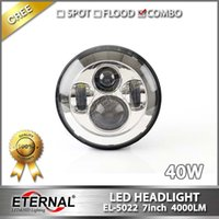 Wholesale 40W in LED headlight round Jeep wrangler JK CJ YJ TJ LED headlight Harley mortorcycle universal lamp