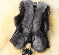 artificial fur vest - New Winter Women Fur Vest Waistcoat Color High grade Artificial Fox Collars Splicing PU Jacket Woman Fur Vests Plus Size