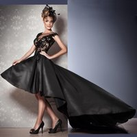Wholesale Agora Fashionable Hi Lo Black A Line Sheer Evening Dresses Satin Lace Appliques Jewel Neck Custom Made Cap Sleeves Prom Pageant Gowns