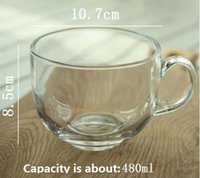 Wholesale Glass Milk Cup ml Large Round Beep Toot Breakfast Milk Cup Flower Cup Cup Coffee Cup Round Glass