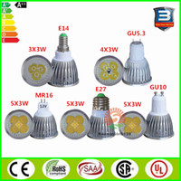 Wholesale Cree LED bulbs W W W Dimmable E27 E14 GU5 B22 MR16 Led Spotlight Gu10 led light downlight V V V