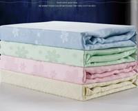 Regular bamboo throw blanket - summer snowflake towel blanket bamboo throw thread blankets baby adults single double queen pink green yellow blue