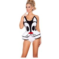 adult costumes cartoon characters - New Playful Pussycat Cat Romper Cartoon Characters Costume Adult Women White Cute Fancy Cosplay Sexy Lingerie A401435