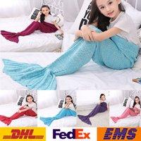 Wholesale Kids Mermaid Blanket Children Sleeping Bag Mermaid Fishtail Knitted Blankets Living Room Bedroom Sofa Super Soft Blankets WX B03