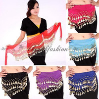 Wholesale Fedex DHL Free Rows Coins Belly Egypt Dance Hip Skirt Multi colors Scarf Wrap Belt Costume High quality Z320 B